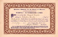 Maragaret Dempster Perfect Attendance Card 1921