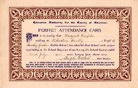 Maragaret Dempster Perfect Attendance Card 1921